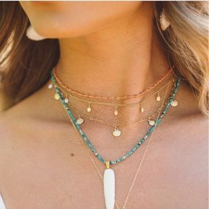 ERIN FADER TINY PLANETS 14k GOLD NECKLACE CHOKER